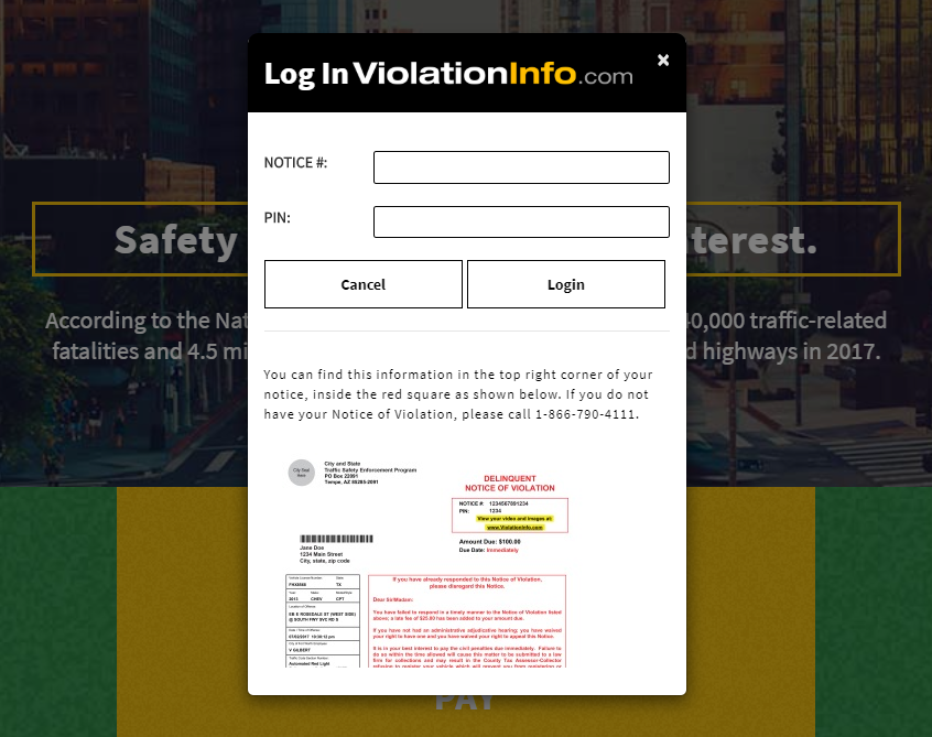 Violationinfo.com login window | How to fight red light camera ticket